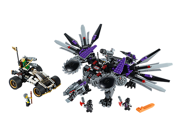 Escape with the Techno-Blades from the mighty Nindroid MechDragon with whipping tail, spinning wing blades, rocket launcher plus Nya's car!