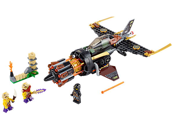 Bust Cole out of prison in the LEGO® NINJAGO™ Boulder Blaster with spring-loaded 8-missile NINJAGO rapid shooter and retractable handle.