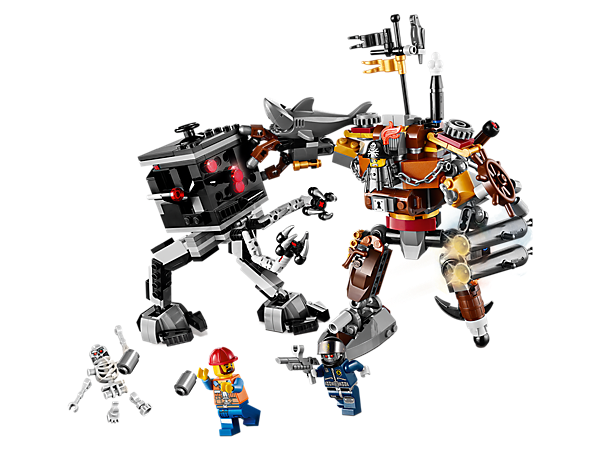 Take on the robo-controlled Micro Manager in The LEGO® Movie MetalBeard's Duel with MetalBeard's arm cannons, shark arm and pirate sword!
