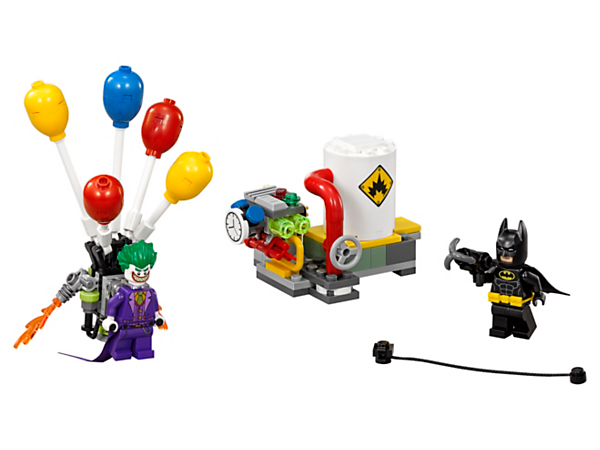 Duel against The Joker™ with Batman™ in The Joker Balloon Escape with an explode-function power plant, The Joker's balloon backpack and bomb element. Includes two minifigures.