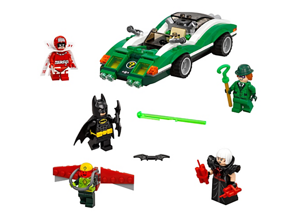 Dodge the Riddle Racer's flip-up spring-loaded shooters, repel Kite Man™, Magpie™ and Calendar Man™ and save the day with Batman™. Includes five minifigures.
