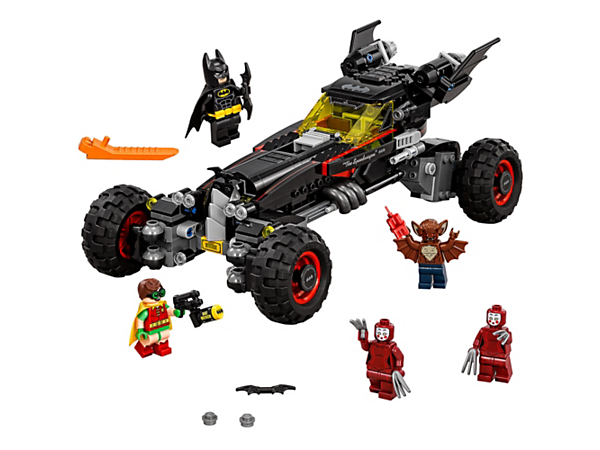 Chase Man-Bat™ and the Kabuki Twins™ with Batman™ and Robin™ in the Batmobile, with three different driving modes and two stud shooters. Includes five minifigures.
