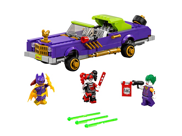 Help Batgirl™ pursue the Notorious Lowrider with bouncing suspension and shooters, and put an end The Joker and Harley Quinn's crime spree. Includes three minifigures.
