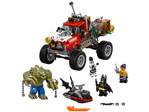 Catch up with Killer Croc's Tail-Gator featuring suspension and two crate bombs, with Batman's Batski with two stud shooters. Includes three minifigures.