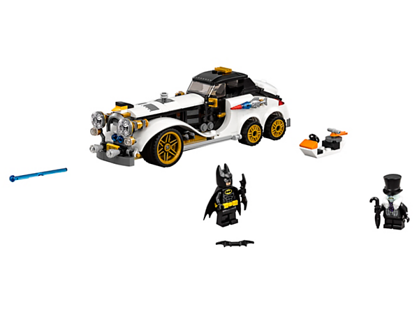 Team up with Batman™ to stop The Penguin™ Arctic Roller featuring a dual spring-loaded shooter and opening trunk with penguin mini escape pod. Includes two minifigures.