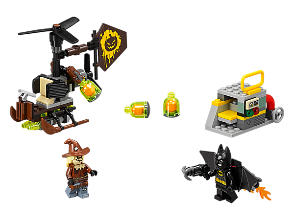 Launch into the sky with Batman's jetpack and stop Scarecrow™ dropping fear gas bombs from his Gyro-Copter. Includes power plant mini build and 2 minifigures.