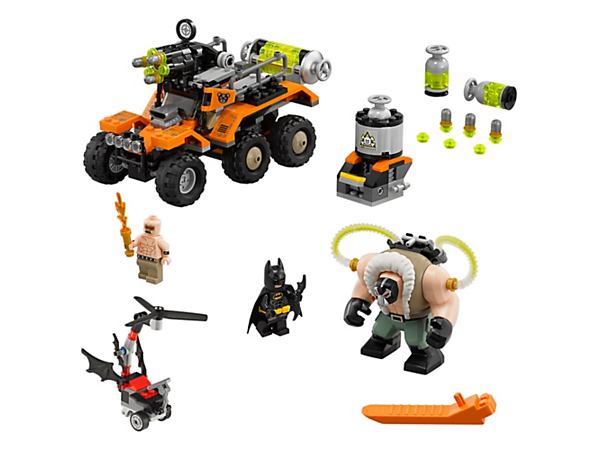 Match Batman's Whirly-Bat against Bane's 6x6 Toxic Truck, featuring wheel suspension and rapid shooter. Includes 2 minifigures, Bane™ big figure and toxic waste mini-build.