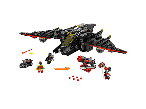 Repel Harley Quinn's cannon attacks with Batman's Batwing, featuring flight and landing mode wings, spring-loaded shooters and disc shooters. Includes 3 minifigures.