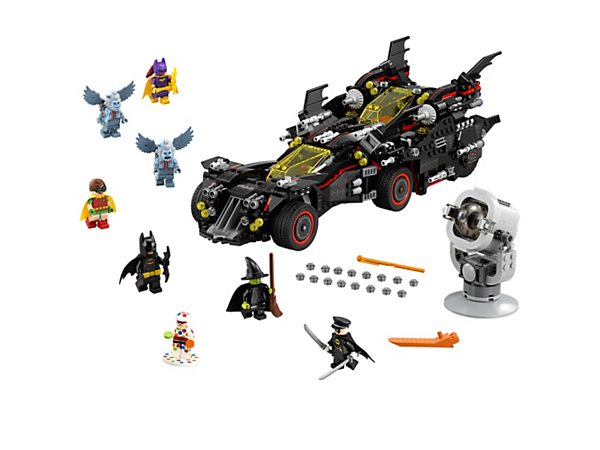 Split the weaponized Ultimate Batmobile into 4 vehicles—the Batmobile, Batwing, Bat-Tank and Batcycle—and ambush the Super-Villains. Includes Bat-Signal and 8 minifigures.