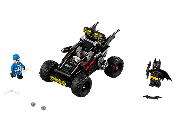 Speed Batman™ into battle against Captain Boomerang™ with The Bat-Dune Buggy, featuring a minifigure cockpit, rear-wheel suspension, stud shooters and 2 minifigures.