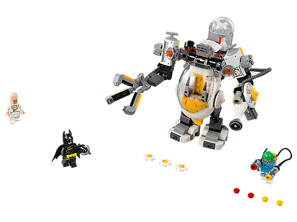Let food fly with the Egghead™ Mech Food Fight set, featuring the Egghead Mech with a fried egg disc shooter and spinning whisk, Condiment King's saucy stud shooters, and 3 minifigures.