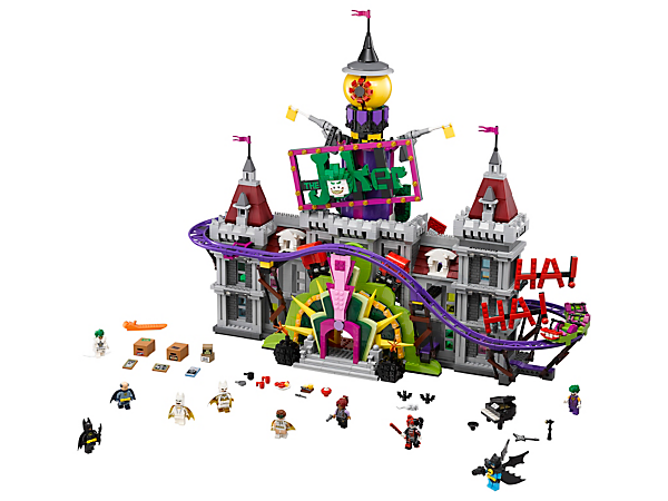 Play out iconic scenes from THE LEGO® BATMAN MOVIE at The Joker™ Manor, with a rollercoaster, punching boxing gloves, trapdoor and slide, microwave and lobster, and 10 minifigures.