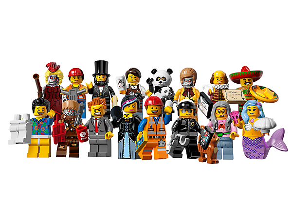 Collect the LEGO® Minifigures: The LEGO® Movie Series mystery bags featuring 16 all-new characters and accessories to trade and collect!
