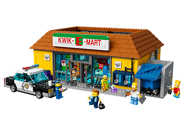 <p>Thank you, come again to the Kwik-E-Mart with well-stocked shelves, removable roof, frozen Jasper, 6 minifigures, police car and lots more.</p>