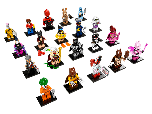 Enjoy action-packed adventures with LEGO® Minifigures—THE LEGO BATMAN MOVIE series, featuring 20 'Limited Edition' minifigures, each with a display plate and collector's leaflet.