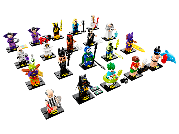 Discover LEGO® Minifigures—THE LEGO BATMAN MOVIE Series 2, featuring 20 Limited Edition minifigures, each with one or more accessories, collector's leaflet and display plate with Batman™ logo.