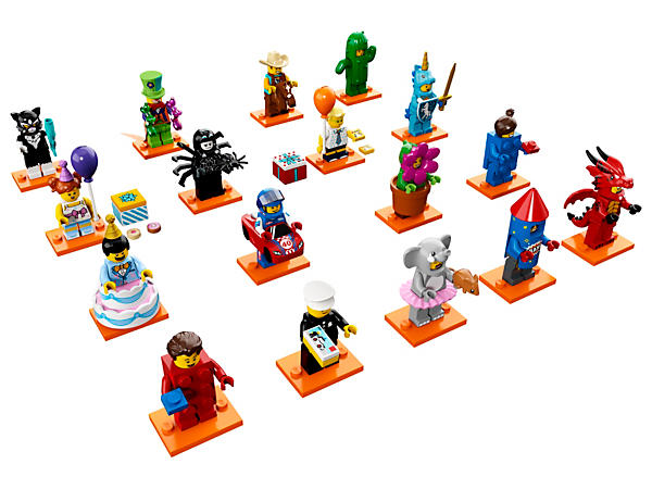 Celebrate 40 years of minifigures with the LEGO® Minifigures Party series, featuring 16 brightly dressed characters with party accessories, plus a replica of one of the first minifigures ever produced.
