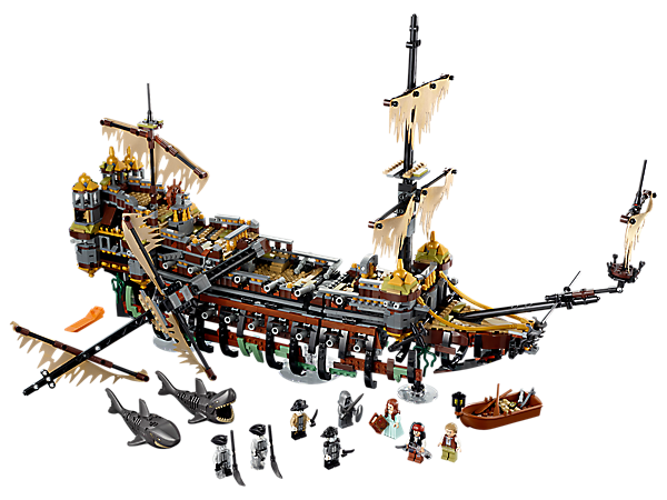 Capture the mystery of the battle-torn Silent Mary with this detailed LEGO® replica, featuring a collapsible main mast, hinged bow, opening hull, plus eight film-character minifigures and two ghost sharks.