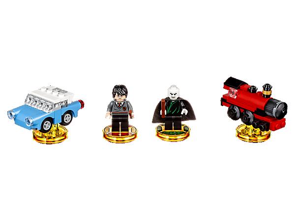 Erwecke im LEGO® DIMENSIONS™ Multiversum mit diesem Harry Potter™ Team-Paket die Welt der Zauberei zum Leben – mit Minifiguren von Harry Potter und Lord Voldemort™ zum Zusammenbauen, sowie zwei 3-in-1-Fahrzeugen und einer Abenteuerwelt mit Battle Arena.