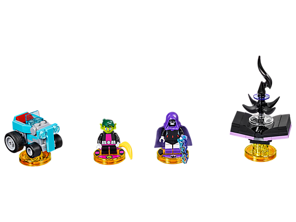 Fight off villains in the LEGO® DIMENSIONS™ multiverse with the Teen Titans Go!™ Team Pack, featuring buildable Raven and Beast Boy minifigures, plus two 3-in-1 vehicles, and an Adventure World with a Battle Arena.