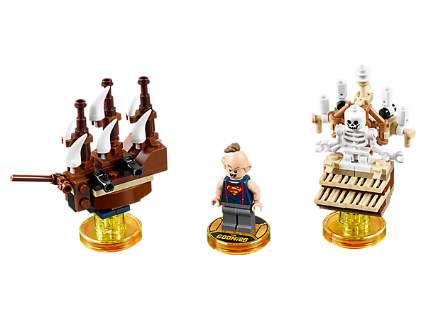 Go on a journey in the LEGO® DIMENSIONS™ multiverse with this Goonies™ Level Pack, featuring a buildable Sloth minifigure, plus 3-in-1 One-Eyed Willy's Pirate Ship vehicle and Skeleton Organ gadget, and a brand new game level.