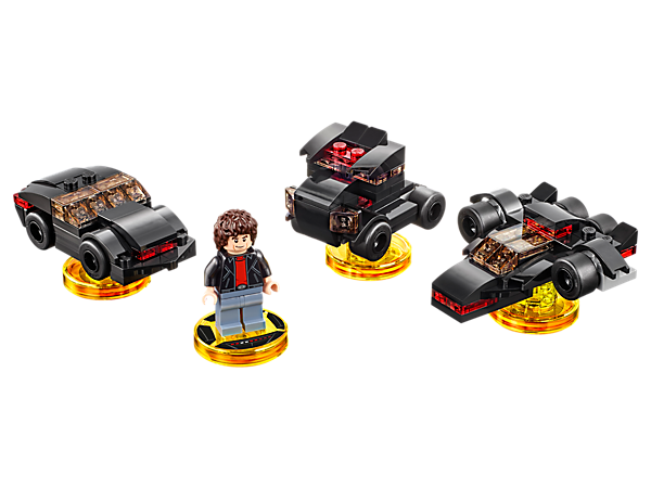 Enhance your LEGO® DIMENSIONS™ mash-up adventure with the Knight Rider™ Fun Pack, featuring Michael Knight, 3-in-1 K.I.T.T. vehicle, and a Knight Rider Adventure World with a Battle Arena!
