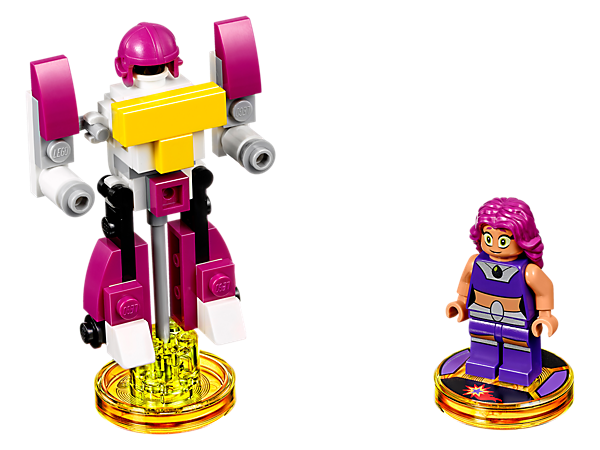 Get ready to save the day in the LEGO® DIMENSIONS™ Multiverse with Starfire in the Teen Titans Go!™ Fun Pack, featuring Starfire, 3-in-1 Titan Robot vehicle, and Teen Titans Go! Adventure World with a Battle Arena and exclusive episode!