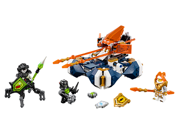 Terminate the tech infection with Lance's Hover Jouster, featuring 2 jousting lances and flick missiles. Includes 2 minifigures and 3 scannable shields.