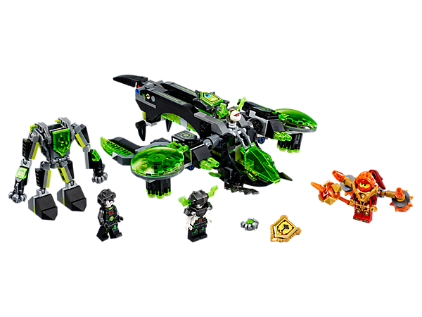 Take the action sky high with the Berserker Bomber, featuring a detachable mech, dual 6-stud tech infection shooters and a winged eye. Includes 2 minifigures and 2 scannable shields.