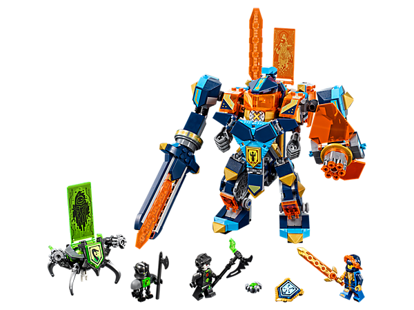 Stage a Tech Wizard Showdown between Clay's highly posable 3-in-1 mech and Monstrox's critter shooters! Includes 2 minifigures and 3 scannable shields.