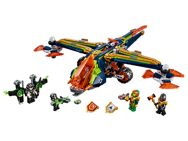 Shoot Aaron's X-bow into action with the dropship attack function and dual hidden flick missiles. Includes 3 minifigures and 3 scannable shields.