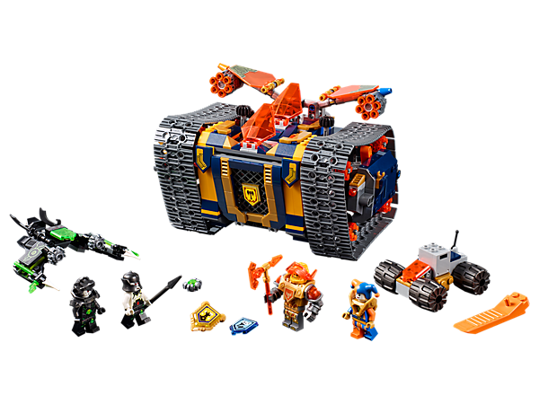 Send out Axl's Rolling Arsenal and the Critter Trapper for a heavy-duty LEGO® NEXO KNIGHTS™ battle! Includes 4 minifigures and 3 scannable shields.