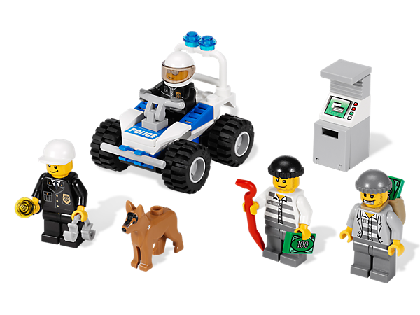 Help the police catch the robbers and put them behind bars with the help of their trusty police dog, quad bike, handcuffs and flashlight!