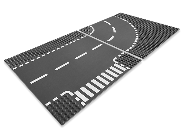 <p>Add a T-junction and curved roads to your LEGO<sup>®</sup> town with this set of building plates.  Includes one T-junction plate and one curved road plate.</p>