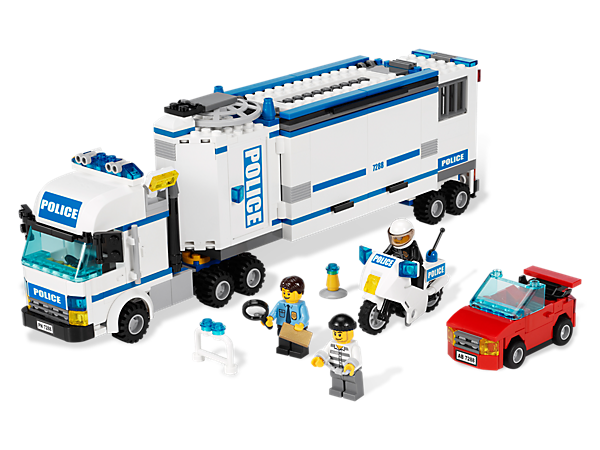 Move the LEGO® City Mobile Police Unit into action using the detachable cab, prison trailer and hidden control center with cool details!