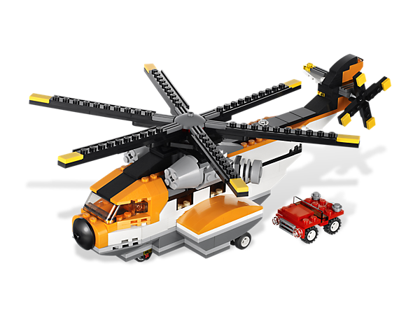Build and rebuild the Transport Chopper into a massive flying machine with working rotors, a super seaplane or a sturdy ferry with a truck!
