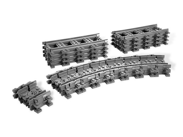 There's no obstacle to making your engines go around awkward shapes — or anywhere — with this set of 8 straight and 16 flexible tracks!