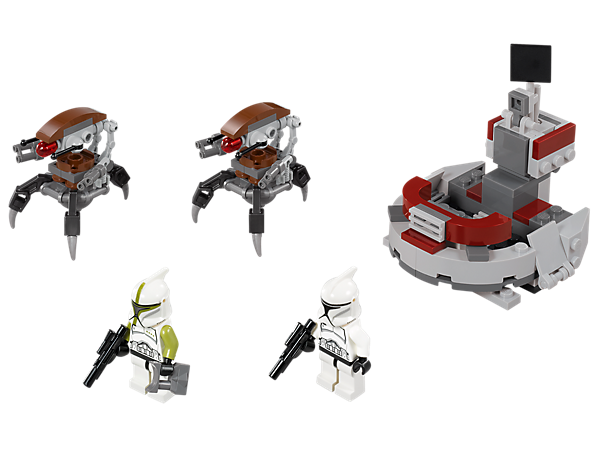 Help the Clone Trooper and Clone Commander to defend the command station against the droidekas using the flick missile and blasters!