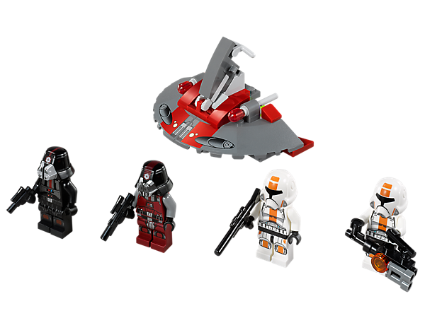 Battle the redesigned Republic troopers with blasters against the Sith troopers on their Sith hover speeder with dual flick missiles!