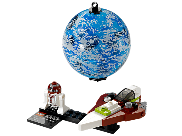 Build and display Obi-Wan Kenobi's Jedi Starfighter™ mini-model, R4-P17 astromech droid, all packed inside of a hangable planet Kamino™!