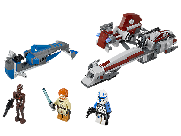 Evade the Commando Droids and their Separatist speeder with Obi-Wan Kenobi and Captain Rex on their super-sleek BARC Speeder with a sidecar!