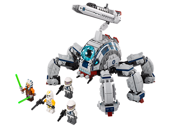 Build and battle the massive Umbaran MHC™ with poseable legs, a missile launcher and elevating, swiveling cannons!