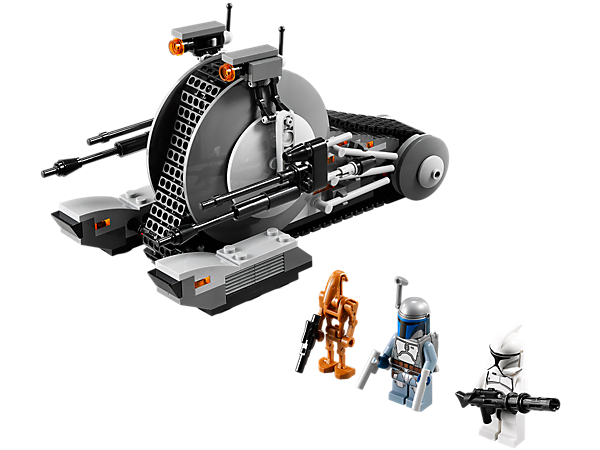 <p>Fend off the LEGO® <i>Star Wars</i>™ Corporate Alliance Tank Droid™ and Battle Droid with 2 flick missiles, Jango Fett and a Clone Trooper™!</p>