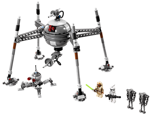 Deploy 2 Super Battle Droids and the Homing Spider Droid with articulated legs, rotating head, elevating lower gun and flick missile!
