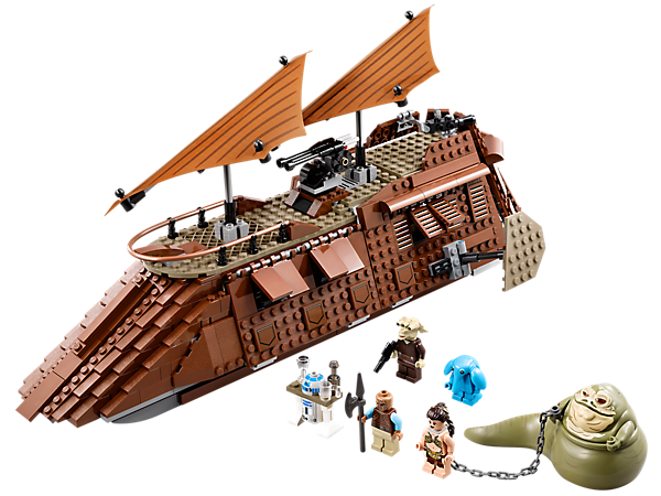 Escape from Jabba's Sail Barge™ with 2 cannons, flick missiles, prison, kitchen, opening windows, wheels, Jabba's throne and 4 minifigures!