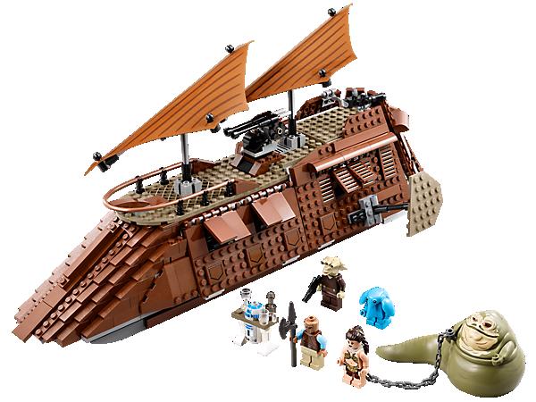 Échappe-toi de Jabba's Sail Barge™ avec 2 canons, des missiles, une prison, une cuisine, des fenêtres qui s'ouvrent, des roues, le trône de Jabba et 4 figurines !