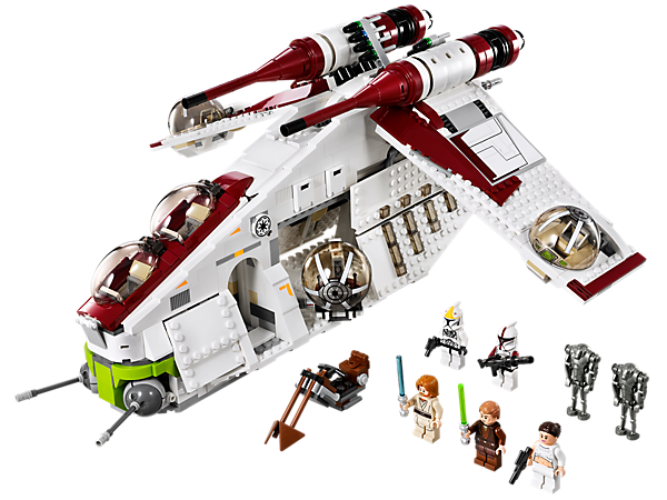 <p>Build the LEGO® <i>Star Wars</i>™ Republic Gunship™ with 4 ball gun turrets, flick missiles, opening panels, swoop bike and lifting handle!</p>