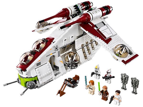 <p>Baue das LEGO® <i>Star Wars</i>™ Republic Gunship™ mit 4 Ballgeschütztürmen, Raketen, aufklappbaren Wänden, Swoop-Bike und Tragegriff!</p>