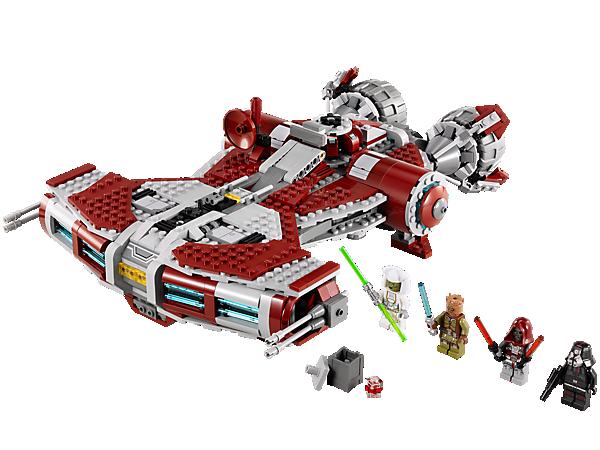 Embarque pour des missions Jedi à bord du vaisseau Jedi™ de classe défenseur de l'Ancienne République avec des capsules d'évasion, des missiles, une poignée de transport et plus encore !