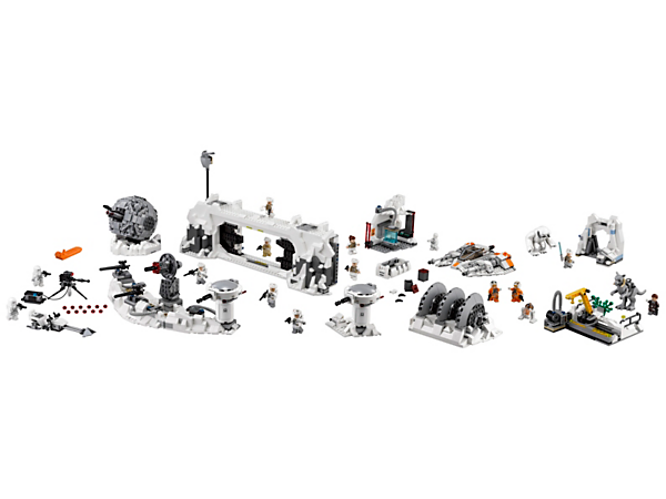 Join the Hoth Battle with Rebel base wall section with blast doors, trench defenses, ion cannon, Snowspeeder, 14 minifigures and lots more.
